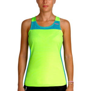 T-shirt with straps cube woman green neon