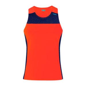 T-shirt with straps cube woman orange neon